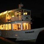 The boat at night.