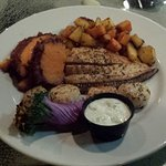 Seafood Platter of Flounder & Scallops with Cinammon Sweet Red Potatoes, Acorn & Butternut Squas