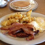 Eggs, Bacon, Sausage, Potatoes and Pancakes