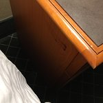 Worst hotel experience to date. What I can only assume as a smear of blood in the nightstand, pe