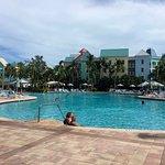 Harborside villas behind resort pool