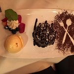 Molten Lava Cake with ice cream and berries