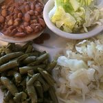 All veggies. Pinto beans, green beans, cabbage and salad. YUM