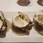 Oysters on spinage