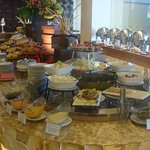 the breakfast buffet spread