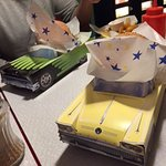 Hamburgers was served in cool paper cars!