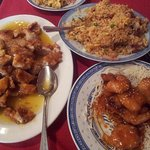 Lemon Chicken, Special fried rice and Honey King Prawns