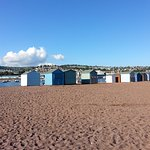 View of beach huts on the beach