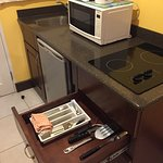 fully stocked kitchenette