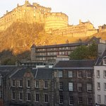 Edinburgh Castle as sunrise in November