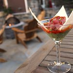 Yellow Fin Tuna Tartare Martini- Crispy Cantimpalo Chorizo, Guacamole, Spicy Carrots, Warm Flatb