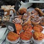 Polenta w/peach cakes, cinnamon rolls