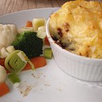 Cheesy cottage pie and winter vegetables..