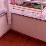 Drainpipe onto balcony!