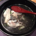 The fish bone was made into broth with kelp