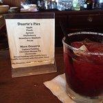 Olallieberry margarita and the dessert menu