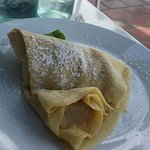 The berry crepe. Simple with only a dusting of sugar and dab of cream on the side.