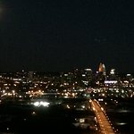 Full Gibbous moon rising over Cincinnati, OH.