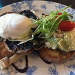 Mushroom, poached egg and smashed avocado