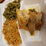 roasted white chicken luann platter Spanish rice green beans