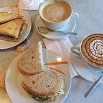 Isabella's delicious sandwiches, caramel machiatto and cappuccino!  Fantastic.