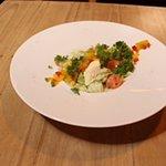 Salad with smoked salmon and feta cream