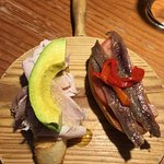 montditos- roasted pork w/ avo AND anchovies