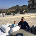 by the terrrace enjoying the crisp rajasthan sun