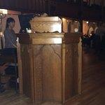 original church pulpit as hostess station