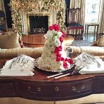 Formal front parlor, wedding at Christmas