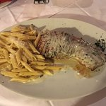 Very nice steak in gorgonzola cheese sauce with penne!