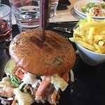 Pulled pork burger and chips