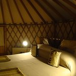 In bad weather the yurts are really cosy places to be