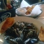Mussels and old bay chips