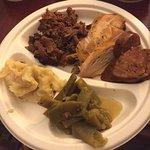 Shredded brisket, BBQ chicken, polish sausage, and green beans.