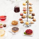 RASPBERRY TART, APPLE TART, MACARONS and TEA