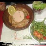Milanaise gratinée au peste, thon au Porto et foie gras, profiteroles pour finir!