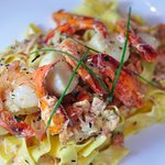 Pasta di Napoli-fresh pappardelle, lobster, scallops, shrimp, citrus cream reduction