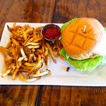 Fish sandwich & garlic fries