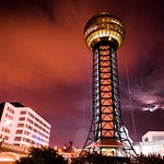 Sunsphere and hotel grounds at night