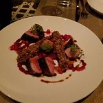 Lightly smoked duck breast Grilled carrot, roast leg meat, huckleberries