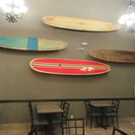 Surfboards Decoration, Breakfast Room, Best Western Plus Shore Cliff Lodge, Pismo Beach, CA