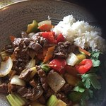 This was sliced ribeye steak with chill lemongrass and vegetables with rice