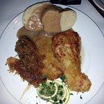 Austrian wiener schnitzel (veal cutlets) with dumplings & sauerkraut