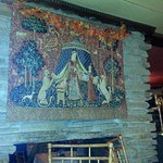 mural over the fireplace at Mack's Golden Pheasant