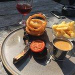 Steak, onion rings, chips & peppercorn sauce