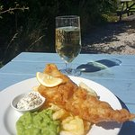 Beer battered haddock with chips & peas