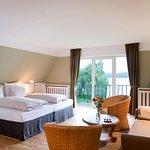 Comfort room with lake views