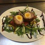 Warm scotch egg salad