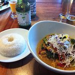 Chicken Thai curry, with baby corn, fresh coconut